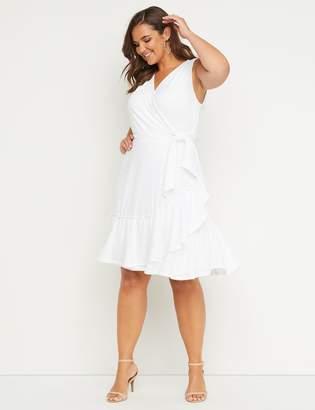 419a6a3ed0ca0 Lane Bryant Eyelet Faux-Wrap Fit & Flare Dress