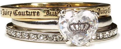 Juicy Couture Three Stacking Rings, Size 6