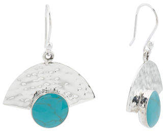 Made In Mexico Sterling Silver Turquoise Shield Earrings