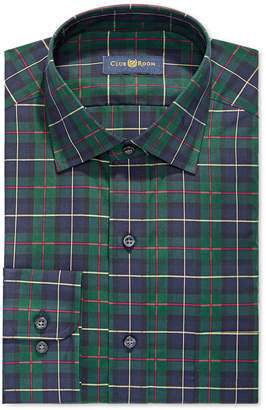 Club Room Men's Classic/Regular Fit Stretch Twill Houndstooth Plaid Dress Shirt