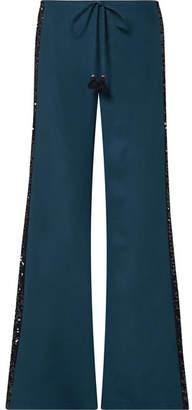 Figue Estela Sequin-embellished Silk Crepe De Chine Wide-leg Pants - Petrol