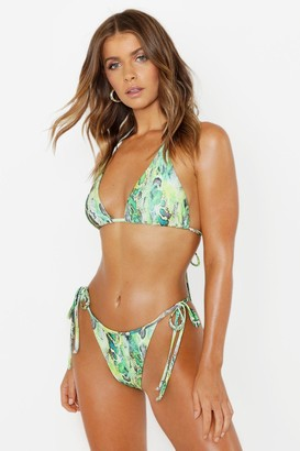 boohoo Neon Snake Triangle Bikini