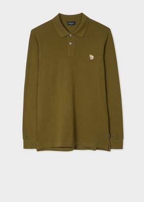Paul Smith Men's Khaki Organic-Cotton Zebra Logo Long-Sleeve Polo Shirt