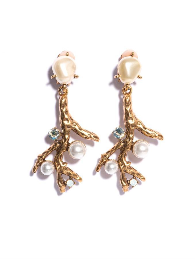 Oscar de la Renta Faux pearl-embellished coral earrings