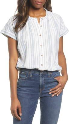 Caslon Woven Linen Blend Camp Shirt