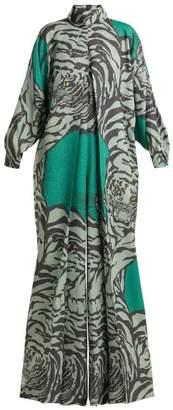 Valentino Tiger Print Wide Leg Jumpsuit - Womens - Green Print