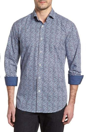Rainy Day Blues Shaped Fit Sport Shirt