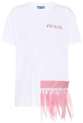 Prada Feather-trimmed cotton T-shirt