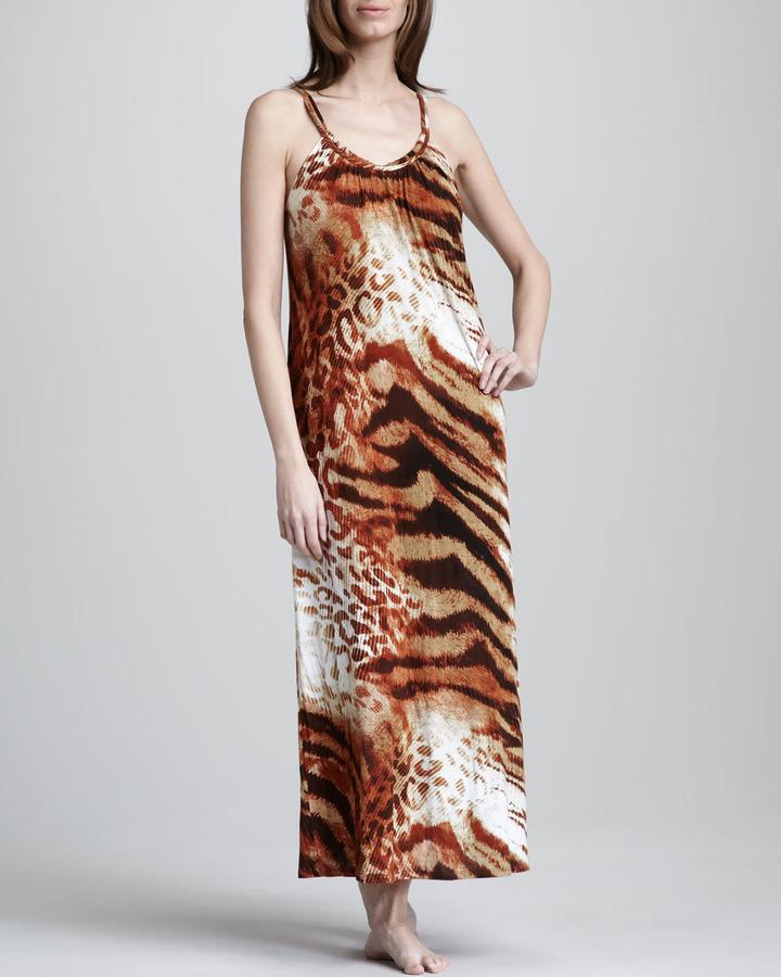 Josie Dara Animal-Print Rayon Gown