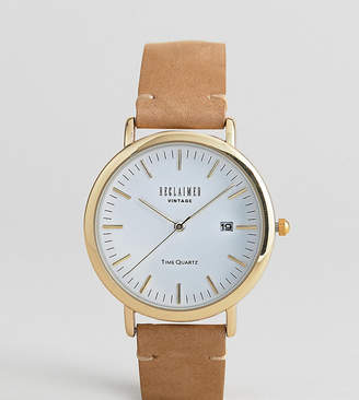 Reclaimed Vintage Inspired Leather Watch In Brown Exclusive To ASOS