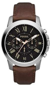 Fossil Grant Leather Watch Brown