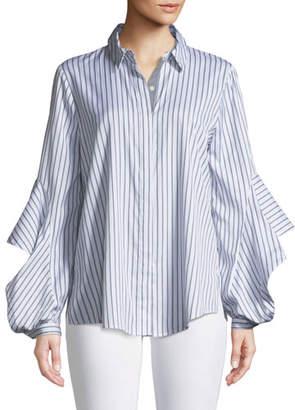 Fallon Kobi Halperin Striped Blouse w/ Flared Sleeves