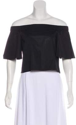 Tibi Off-Shoulder Cotton Cropped Top w/ Tags