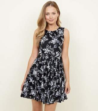 at New Look · Yumi Black Floral Print Lace Skater Dress a3a1cb780