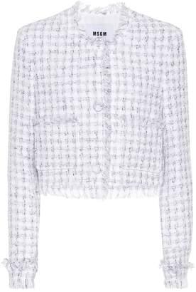 MSGM Tweed cotton-blend cardigan
