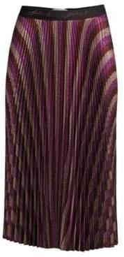 Beatrice. B Pleated Metallic Midi Skirt