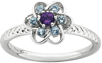 JCPenney FINE JEWELRY Personally Stackable Genuine Amethyst & Blue Topaz Flower Ring