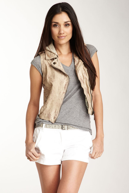 Doma Doma Genuine Leather Moto Vest with Detachable Hood