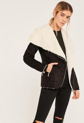 Black Faux Fur Waterfall Jacket $81 thestylecure.com