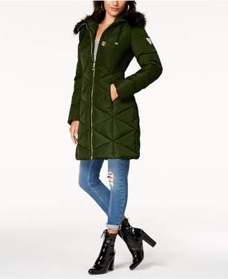 GUESS Faux-Fur-Trim Diamond-Quilted Puffer Coat