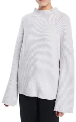 Vince Ribbed Funnel-Neck Wool-Cashmere Sweater