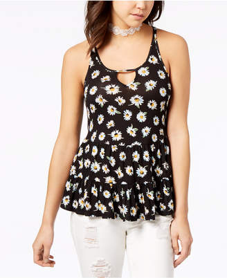 American Rag Juniors' Printed Lace-Up Swing Top, Created for Macy's