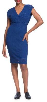 Plenty by Tracy Reese Pointelle Knit Surplice Sheath Dress