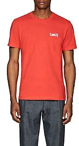 "Ami Alexandre Mattiussi Men's ""Family""-Embroidered Cotton T-Shirt - Red"