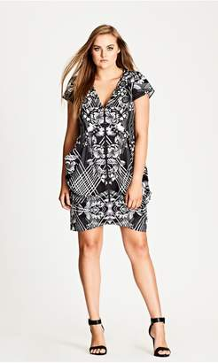 City Chic Citychic Mono Mirror Zip Front Tunic
