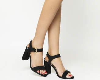 Office Hun Block Heel Sandals Black Nubuck