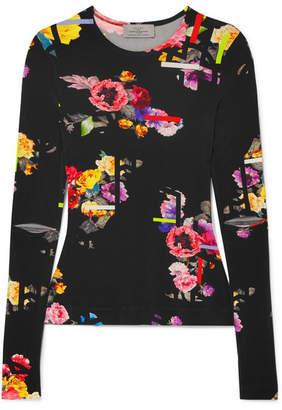 Preen by Thornton Bregazzi Aidan Floral-print Stretch-jersey Top - Black