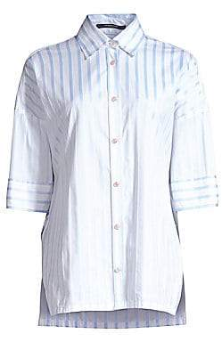 Derek Lam Women's Oversized Striped Button-Down Shirt