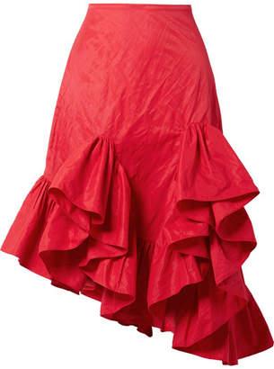 Marques Almeida Marques' Almeida Asymmetric Ruffled Crinkled-taffeta Skirt
