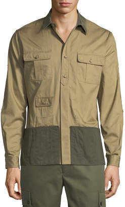 Valentino Men's Colorblock Long-Sleeve Sport Shirt