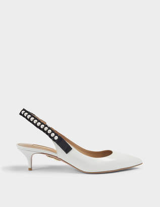 Aquazzura Love Story 45 Slingbacks in White Calf