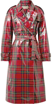 Coated-tartan Wool Trench Coat - Red
