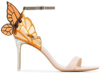 Sophia Webster nude and orange chiara 85 leather sandals