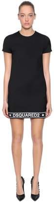 DSQUARED2 Logo Band Wool Blend Cady Dress