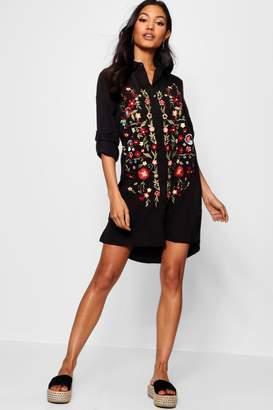 boohoo Frill Embroidered Shirt Dress