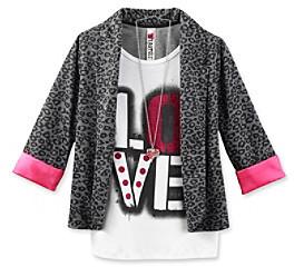 Beautees Girls' 7-16 Black/Grey Cheetah Print Blazer with Love Graphic Tee