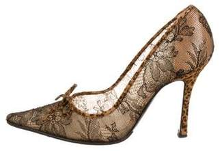 Rene Caovilla Pointed-Toe Lace Pumps