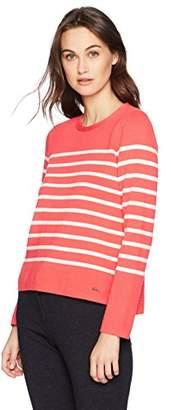 Nautica Women's Long Sleeve Striped Crew Neck Sweater