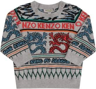 Kenzo Grey Babyboy Sweater With Colorful Japanese Dragons