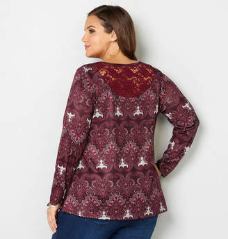 Avenue Crochet Back Medallion Print Top