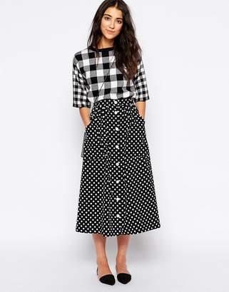 Yumi Button Through Midi Skirt in Polka Dot