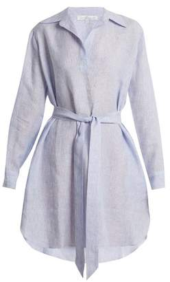 Pour Les Femmes - Point Collar V Neck Striped Linen Shirtdress - Womens - Blue Stripe