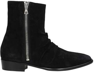 Amiri Skinny Stack Black Suede Boots