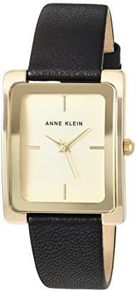 Anne Klein Women's AK/2706CHBK Gold-Tone and Black Leather Strap Watch