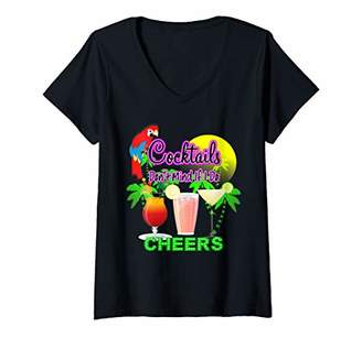 Womens Cocktails Funny Quote Colorful Fun Graphic V-Neck T-Shirt
