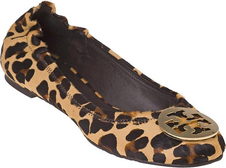 TORY BURCH Reva Leopard Haircalf Print Ballet Flat